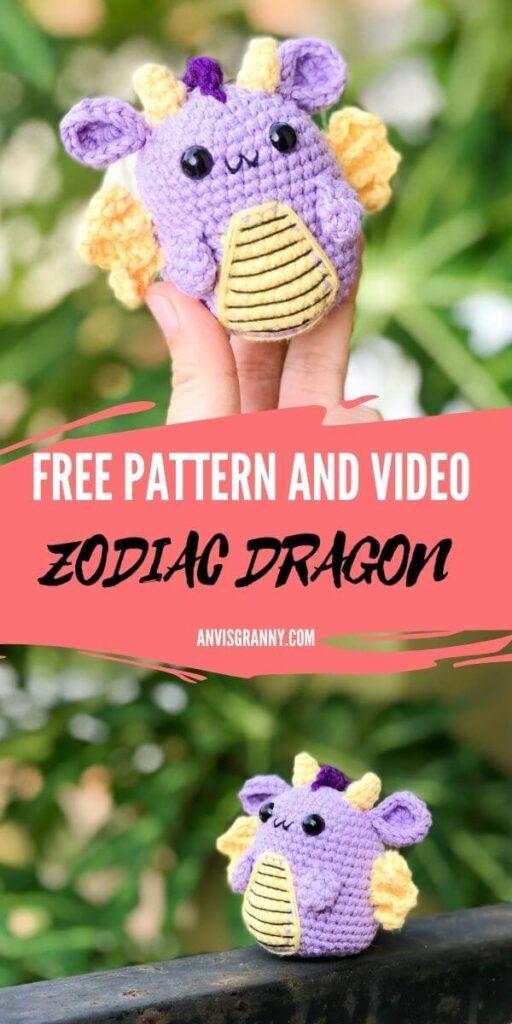 Free pattern and video of Chinese zodiac dragon amigrumi crochet