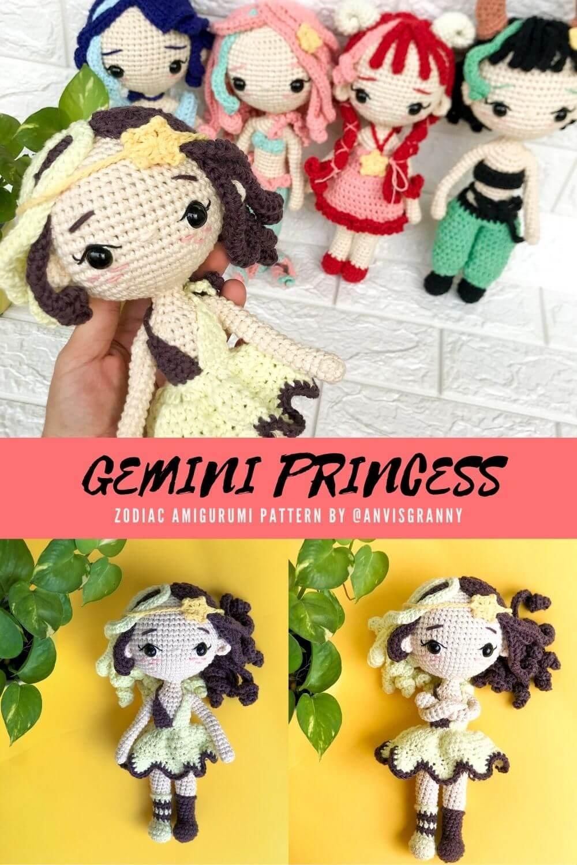 Easy to follow Zodiac Gemini Sign crochet doll amigurumi pattern
