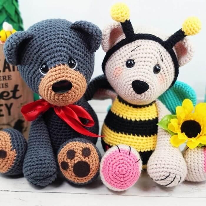 crochet bear and crochet bee amigurumi patterns