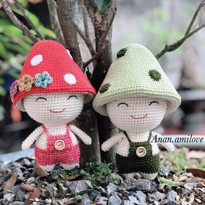 mushroom doll amigurumi crochet pattern