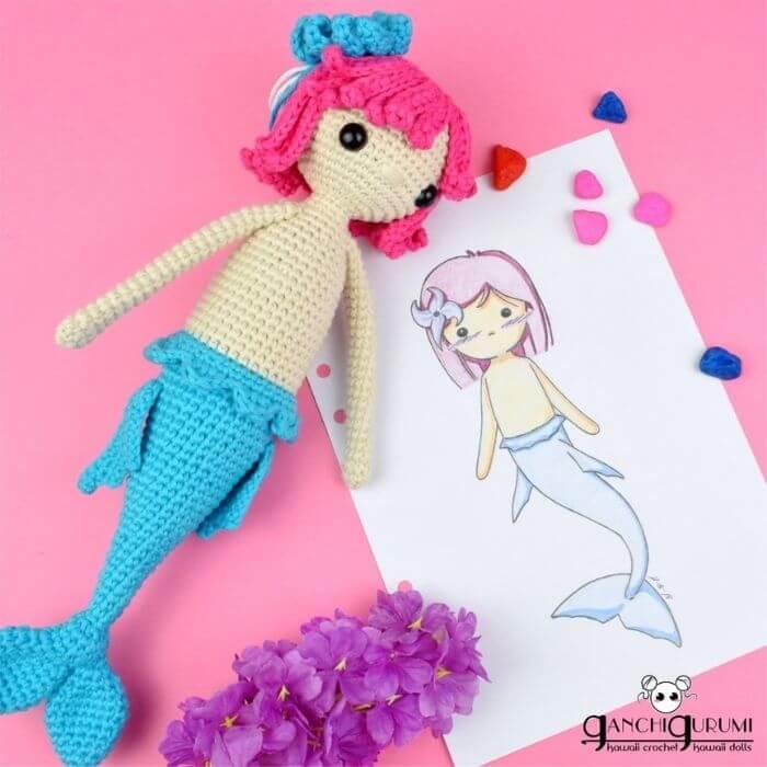 mermaid doll, shark doll amigurumi crochet pattern