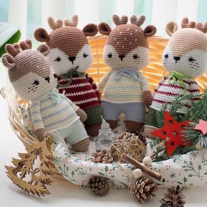 christmas deer amigurumi crochet toys