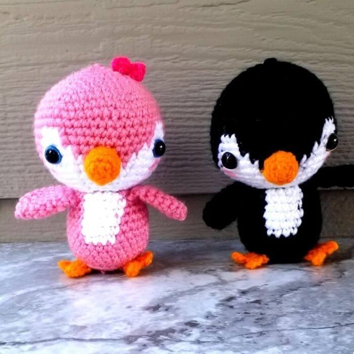 penguin couple amigurumi toy pattern crochet