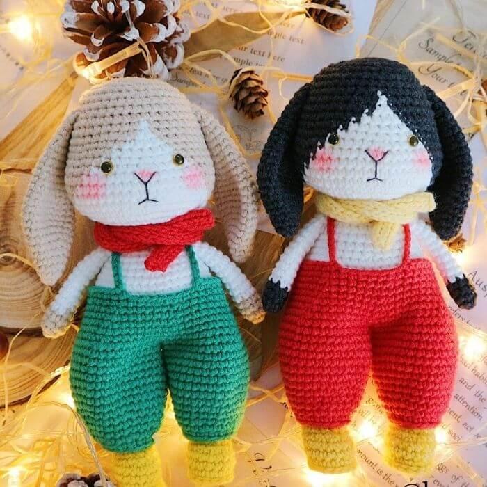 couple rabbit amigurumi crochet pattern