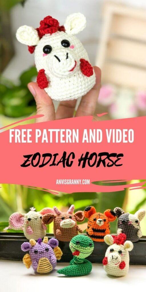 Amigurumi horse crochet free pattern and video tutorial - Astrological amigurumi - Zodiac amigurumi