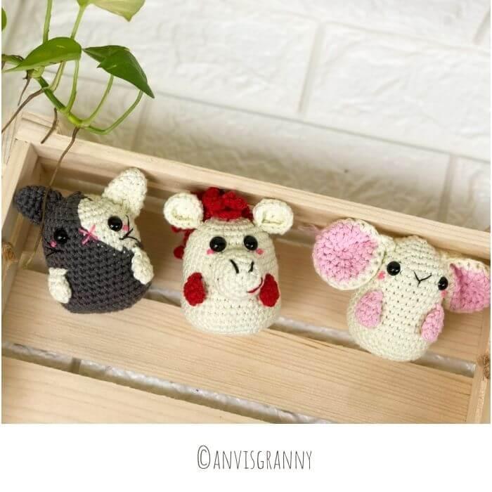 Bunny, Horse, Rat zodiac amigurumi crochet patterns