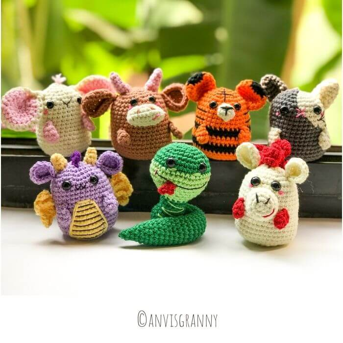 Crochet Chinese zodiac amigurumi animalskeychain amigurumi crochet pattern