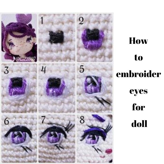 How to embroider the eyes for amigurumi doll Cancer