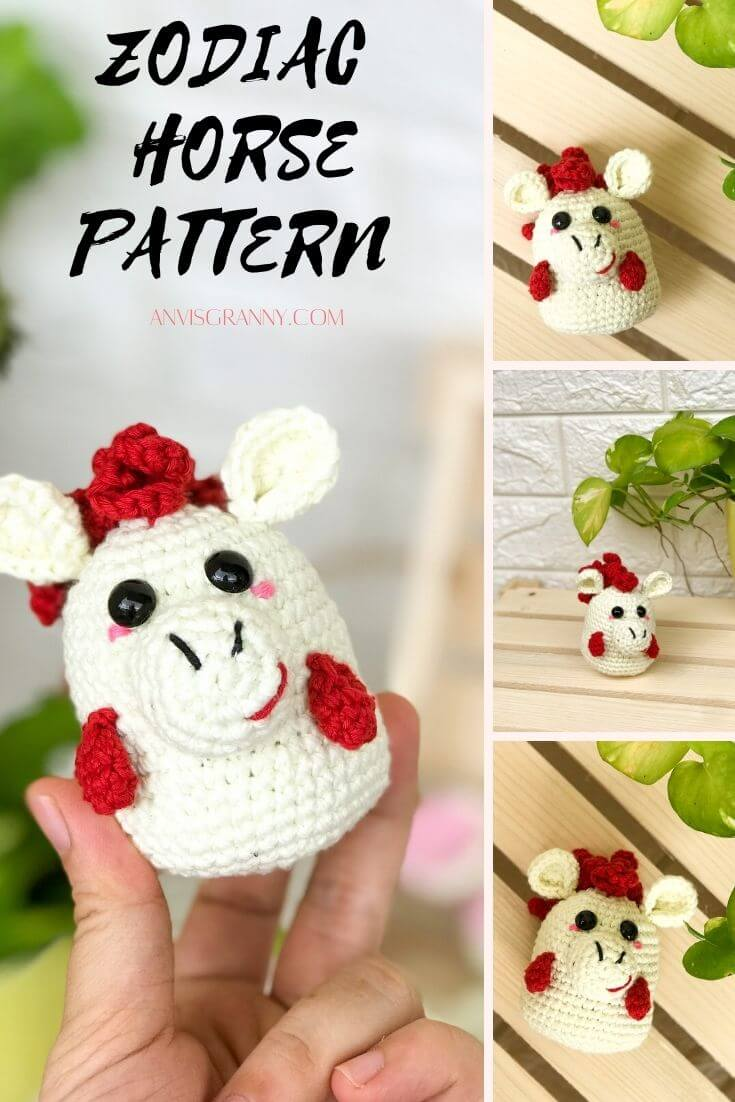 Premium PDF pattern of Chinese astrological amigurumi horse crochet pattern