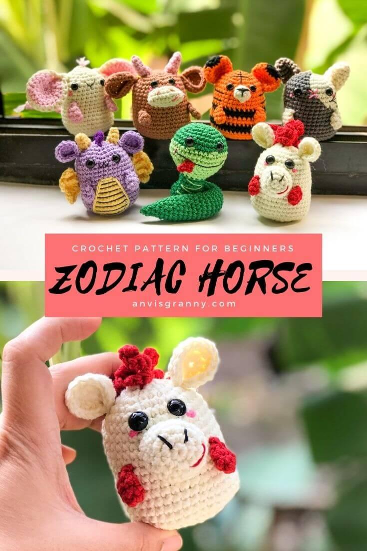 Paid Zodiac horse amigurumi crochet pattern