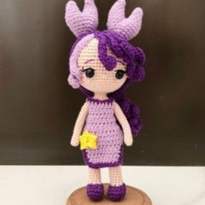 Zodiac Cancer amigurumi princess crocheted by tester