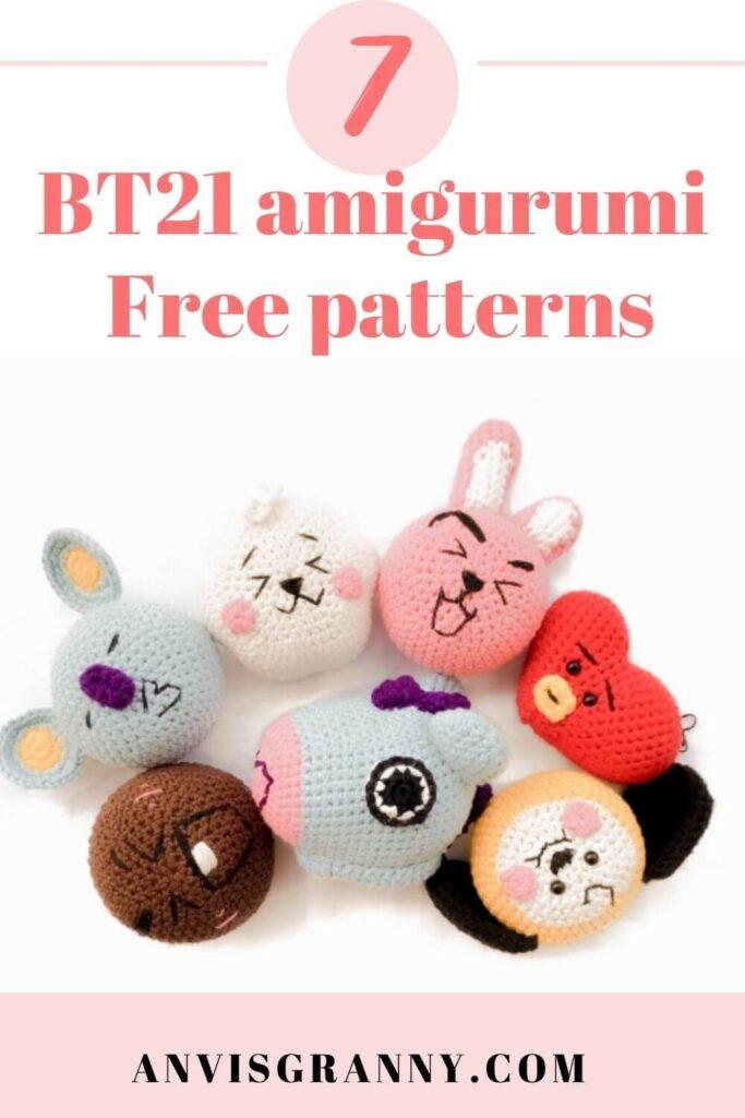 BT21 amigurumi mini free patterns for beginners