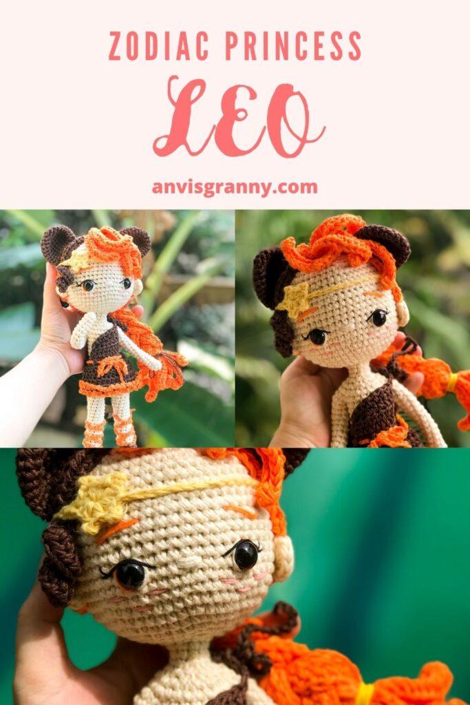 zodiac princess amigurumi pattern, Leo zodiac crochet