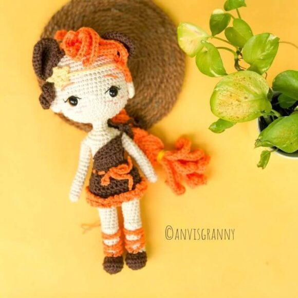 Leo zodiac princess amigurumi crochet pattern - Lion girl crochet doll pattern