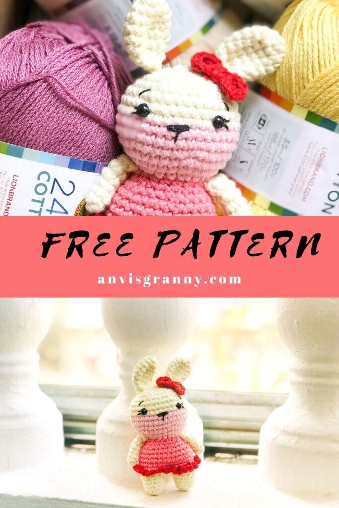 no sew easy crochet small bunny rabbit amigurumi pattern for beginners