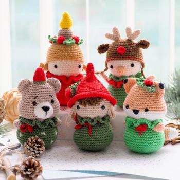 Christmas decoration: Elf, bear, fox, snowman and candle