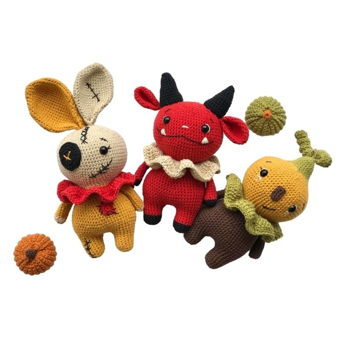Halloween pumpkin doll, devil doll, voodoo bunny doll amigurumi crochet patterns