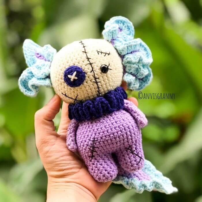 Halloween amigurumi voodoo axolotlt crochet pattern - no sew amigurumi doll pattern