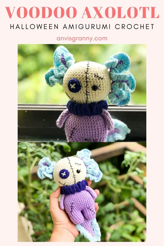 No-sew voodoo axolotl amigurumi crochet pattern for beginners