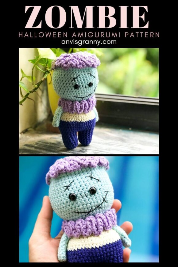 Halloween amigurumi zombie crochet pattern - no sew amigurumi doll pattern