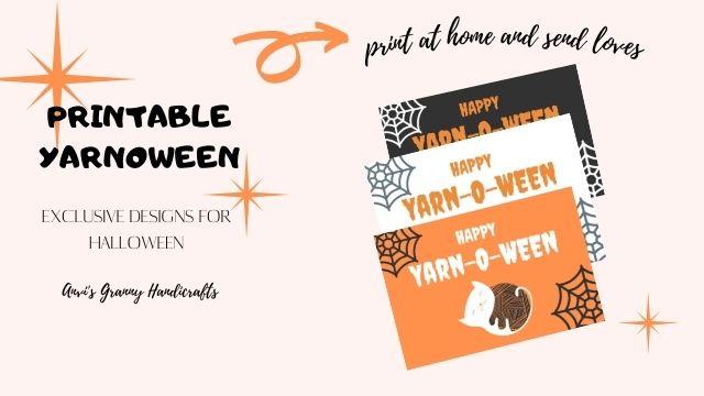 3 of orange and black halloween yarnoween greeting cards