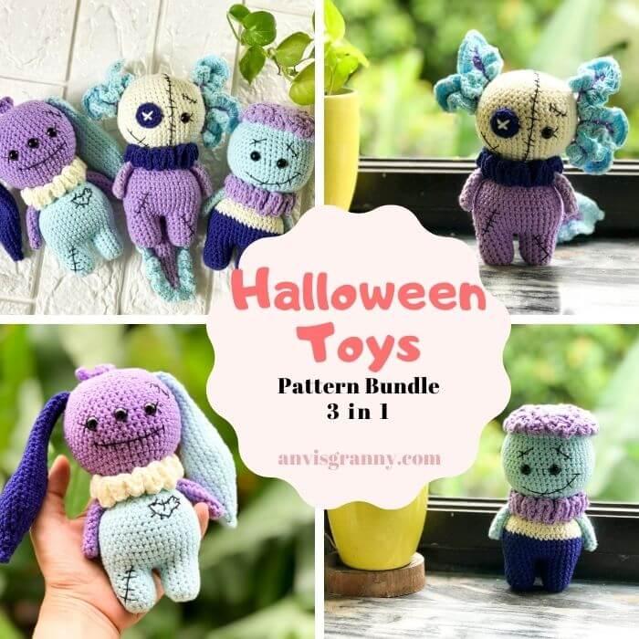 Seamless Halloween amigurumi doll crochet pattern - spooky crocheted toy pattern17