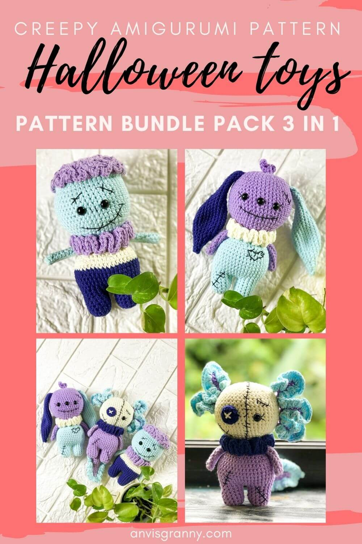 no-sew Halloween amigurumi horror crochet patterns for beginners