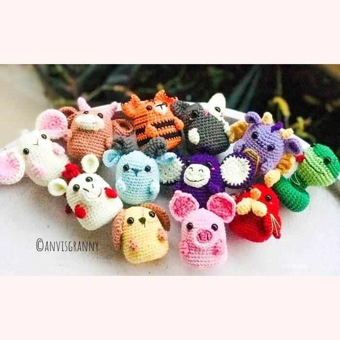 Chinese zodiac animal amigurumi crochet patterns for beginners