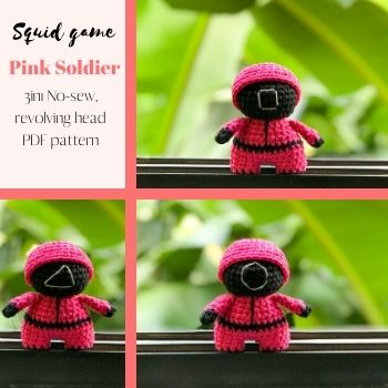 3in1 Crochet Squid Game Pink Soldier – No-sew Free Amigurumi Pattern