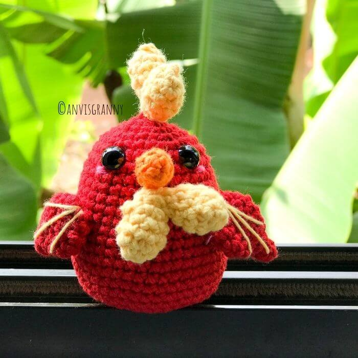 Chinese zodiac sign rooster crochet amigurumi toy pattern