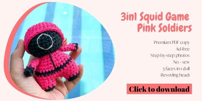 Squid Game Pink Soldier crochet pattern free - Website optin