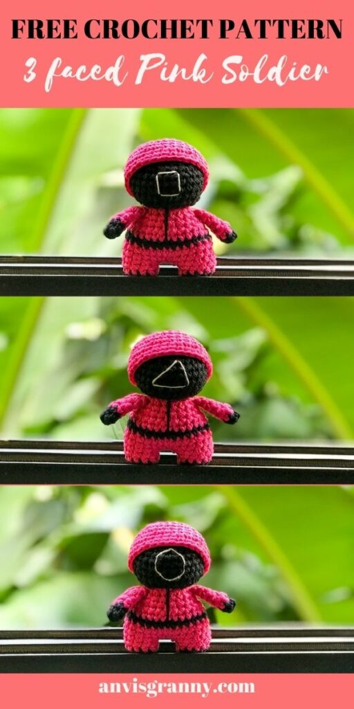 easy and no-sew 3in1 pink solider plush toy - squid game amigurumi toy