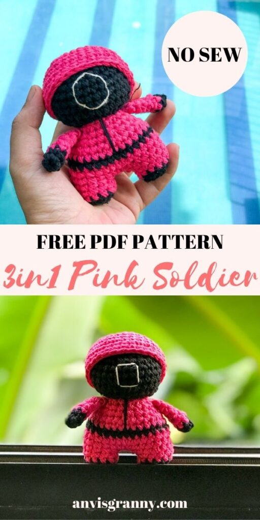 Squid game pink soliders amigurumi crochet pattern free for beginners
