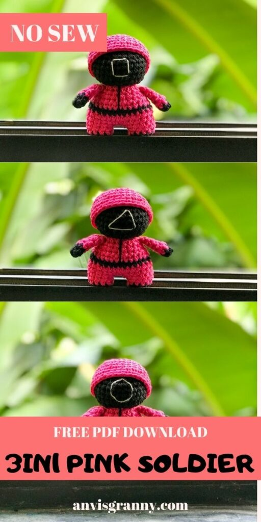 how to crochet the squid game pink solders amigurumi toys